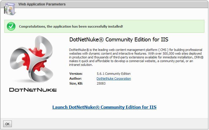 DotNetNuke in Microsoft Web App Gallery
