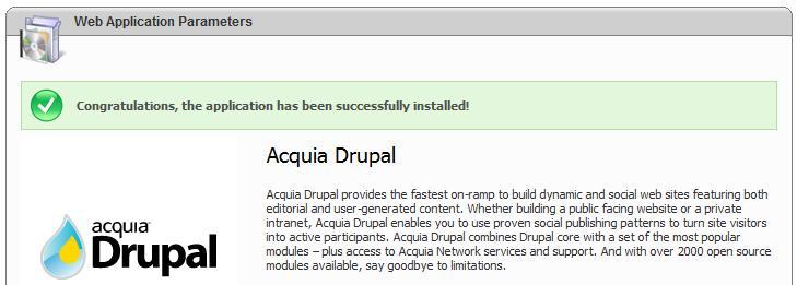 Drupal in Microsoft Web App Gallery