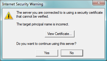 Internet Security Warning