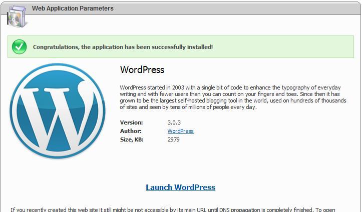 WordPress in Microsoft Web App Gallery