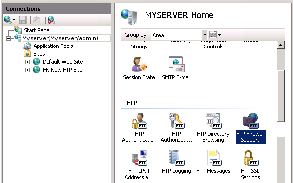 Configure FTP Firewall Settings in IIS