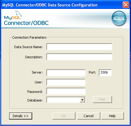 MySQL ODBC Window Datasource Config